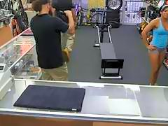 Gym trainer sells her equipment and fucked by pawn guy